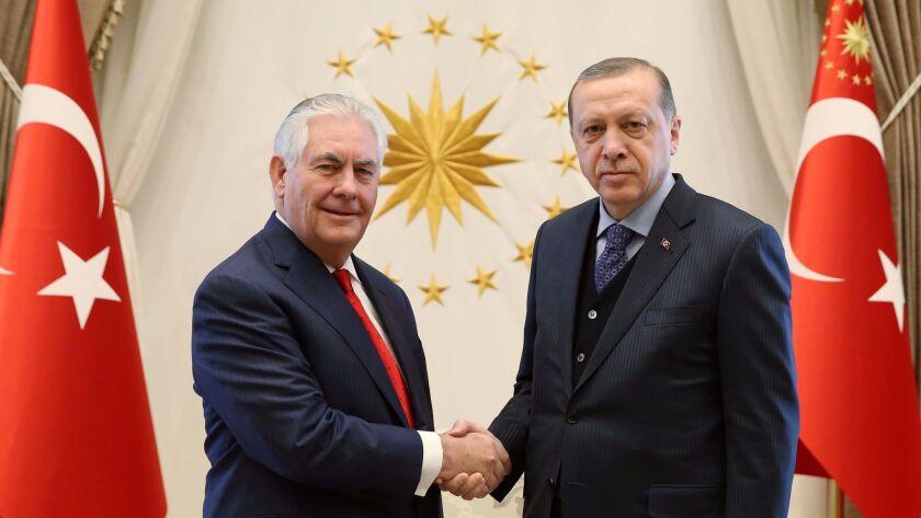 Secretary of State Rex Tillerson, left, with Turkish President Recep Tayyip Erdogan prior to their meeting Thursday in Ankara.
