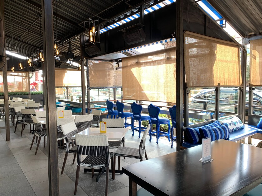 A covered patio at Pacific Social, which the Cohn Restaurant Group unveiled this weekend in Carmel Valley.