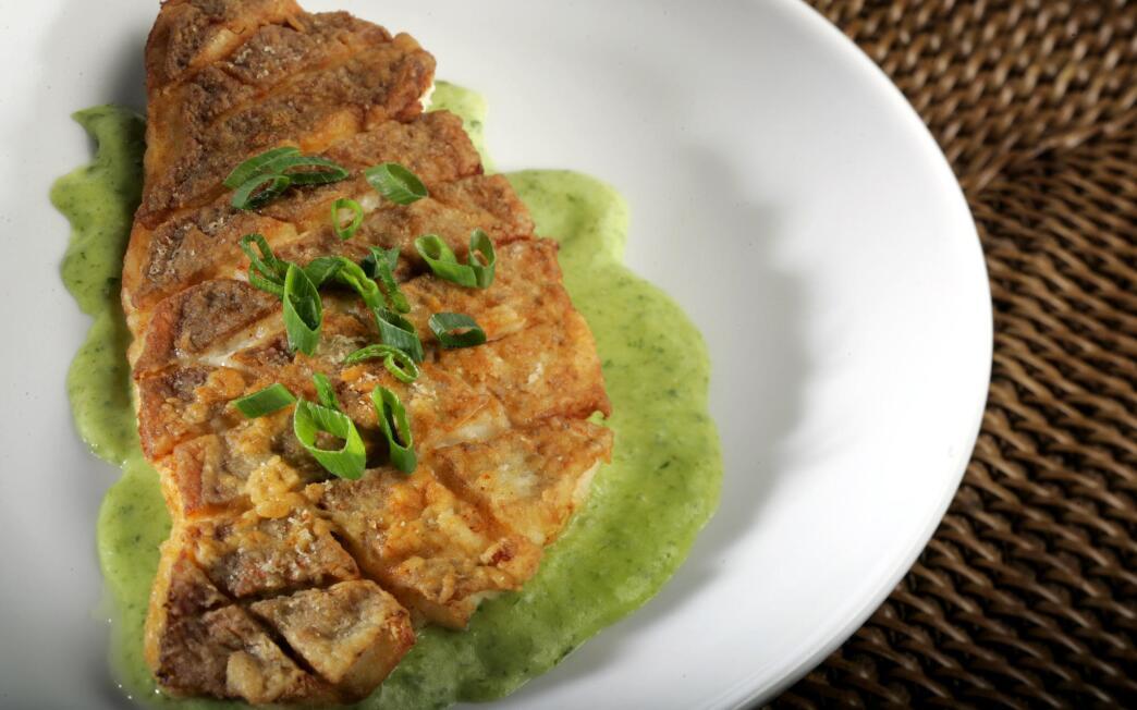 Jasper's half-crispy fish with green onion puree