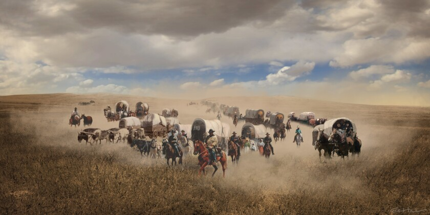 "Concept art of wagon train from ""The Ballad of Buster Scruggs."" Ethan and Joel Coen's frequent coll"