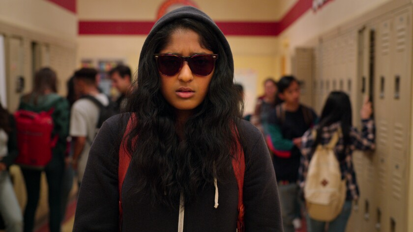 "Actress Maitreyi Ramakrishnan in the Netflix show ""Never Have I Ever."""