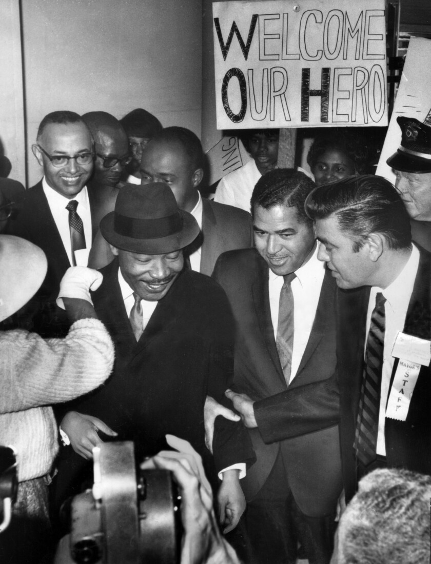 Martin Luther King Jr. was surrounded by heavy security when he arrived in Los Angeles on Feb. 24, 1965, to give a series of speeches pushing for voting rights legislation.