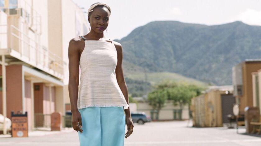 "Danai Gurira, who plays the kick-butt General Okoye in ""Black Panther,"" in Burbank, Calif."