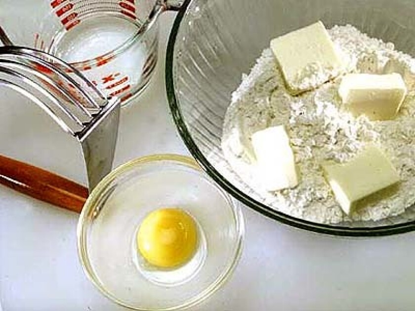 Place flour, sugar, salt and butter in bowl. Use pastry cutter, fork, food processor or your hands to combine mixture.