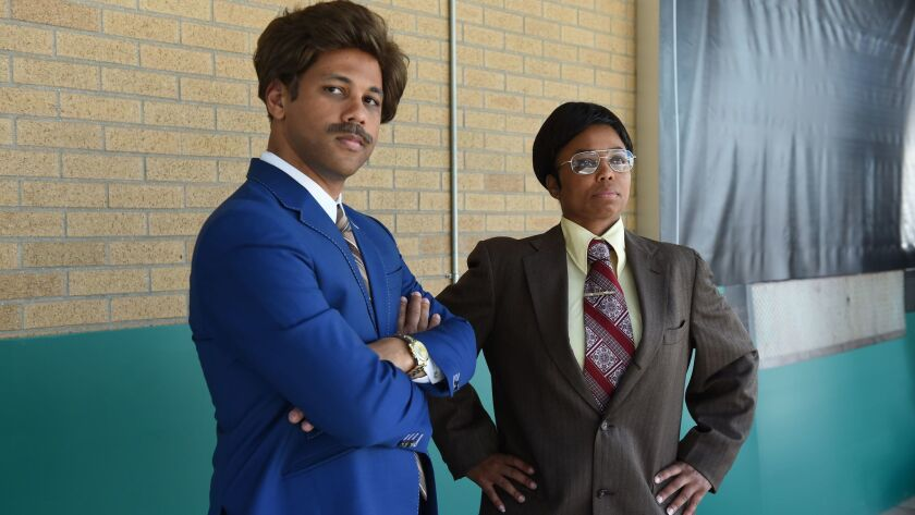 "Michael Smith and Jemele Hill during an ""Anchorman"" movie spoof."