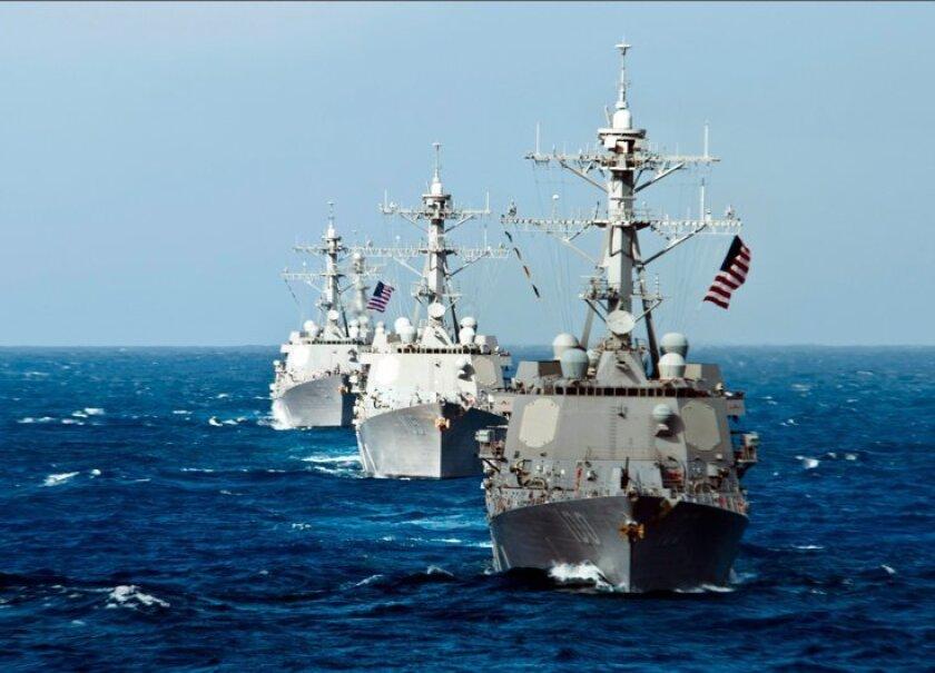 The San Diego-based destroyers Kidd, Dewey and Pinckney helped make up the Stennis Carrier Strike Group.