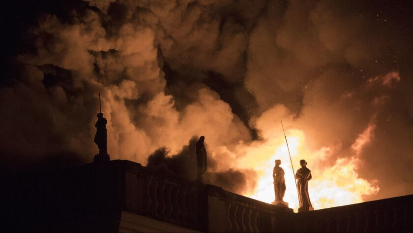 Flames engulf the 200-year-old National Museum of Brazil, in Rio de Janeiro, Sunday, Sept. 2, 2018.
