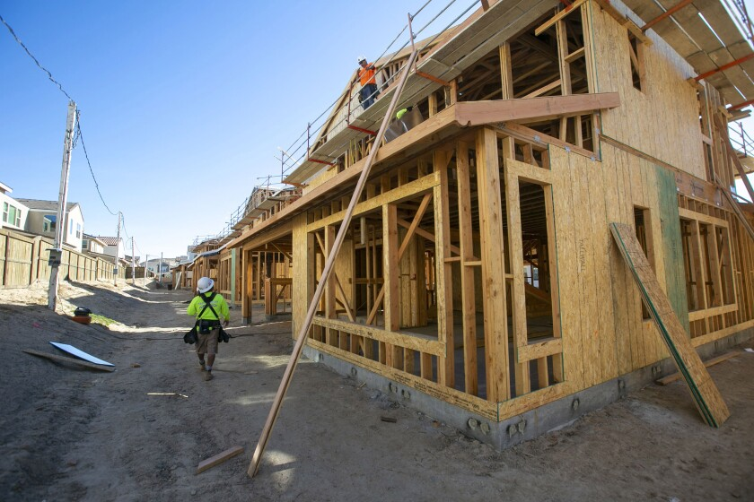 New single-family homes are under construction in Chula Vista, Calif., on Jan. 31.