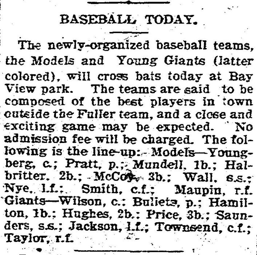 Baseball story and advertisement from 1899