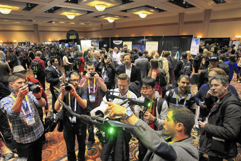 Drone manufacturer DJI shows off the Inspire 1 at the International Consumer Electronics Show. More than 150,000 people are expected to attend the massive Las Vegas event.