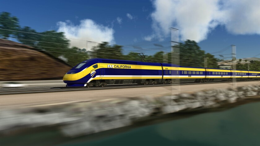 This undated file image provided by the California High-Speed Rail Authority shows an artist's rendering of a train speeding along the California coast.