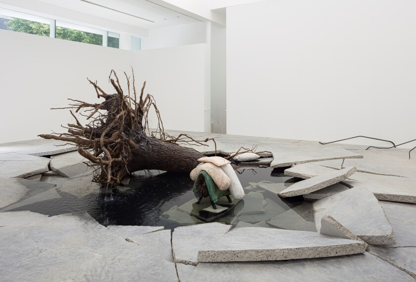"""The Shaman"" by Tatiana Trouvé, 2018. Patinated bronze, marble, granite, concrete, steel, sand, water, on view at Gagosian."
