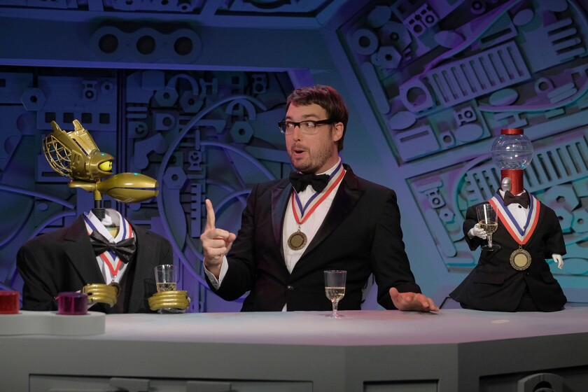 "Jonah Ray and his robot friends are back in new episodes of ""Mystery Science Theater 3000: The Return"" on Netflix."