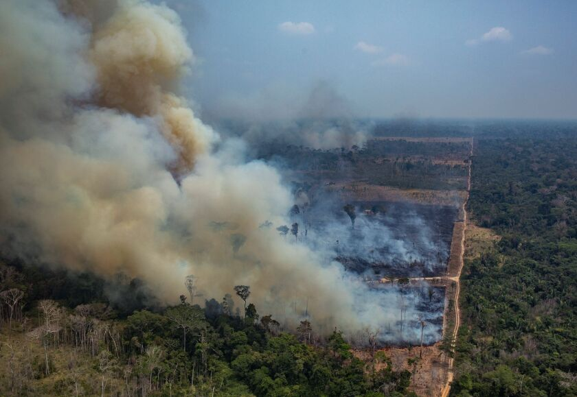 A satellite image of fire and deforestation in the Amazon