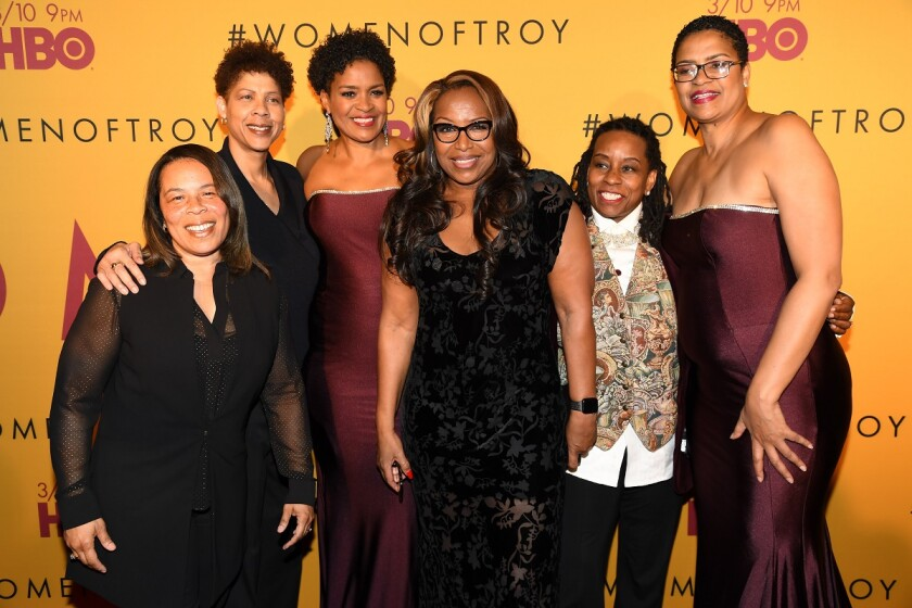 """From left to right, Rhonda Windham, Cheryl Miller, Pam McGee, Cynthia Cooper, Juliette Robinson, and Paula McGee attend the premiere of """"Women of Troy"""" at Ray Stark Family Theatre on the campus of USC on Feb. 26."""