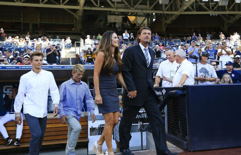 On Saturday evening at Petco Park in San Diego, former Padres pitcher Trevor Hoffman was honored when he was inducted into the Padres Hall of Fame.