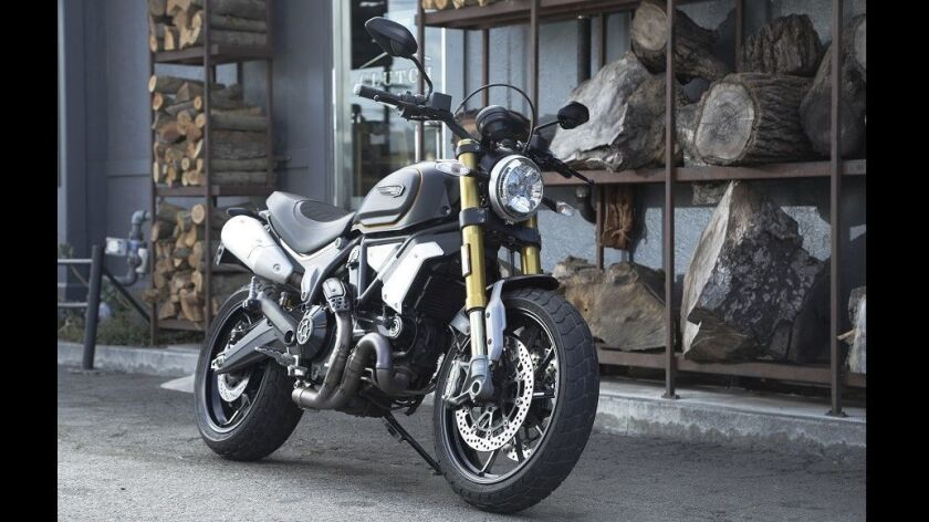 VENICE, CA -- OCTOBER 02, 2018: The Ducati Scrambler 1100 is the motorcycle company's newest offerin