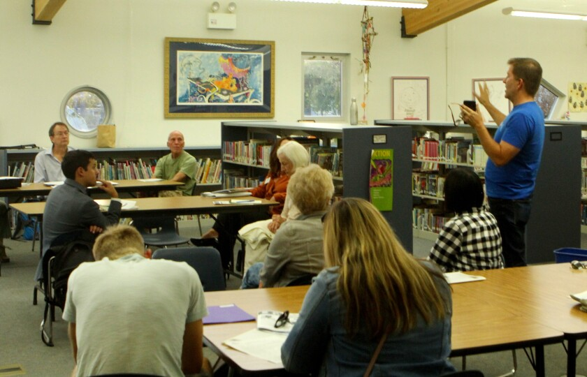 Don Schmidt delivers his update on coastal overlooks at the Bird Rock Community Council meeting held Oct. 1 in the Bird Rock Elementary School library.