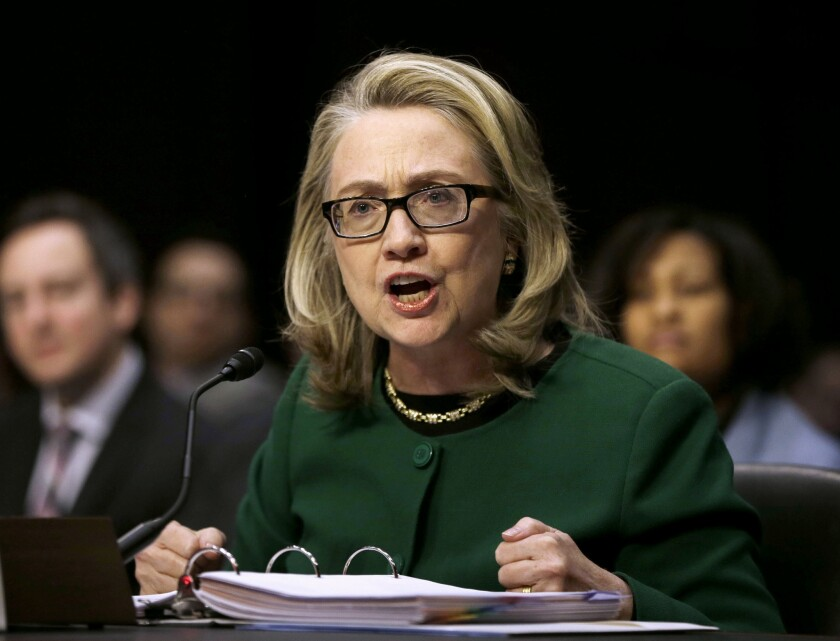 Then-Secretary of State Hillary Rodham testifies on Capitol Hill in Jan. 23, 2014.