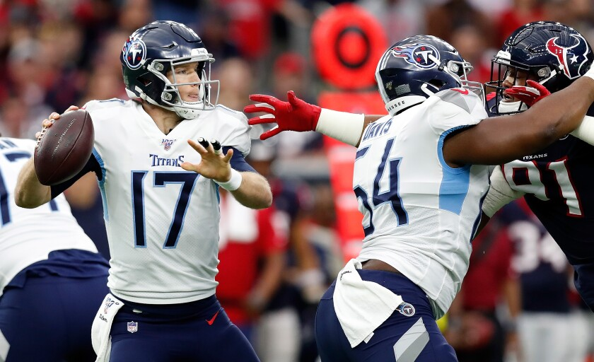 Quarterback Ryan Tannehill has blossomed in Tennessee and could lead the Titans to a playoff win Saturday in New England.