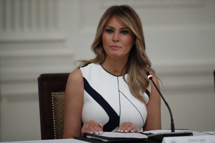 """First lady Melania Trump during a """"National Dialogue on Safely Reopening America's Schools,"""" event in the East Room of the White House, Tuesday, July 7, 2020, in Washington. (AP Photo/Alex Brandon)"""