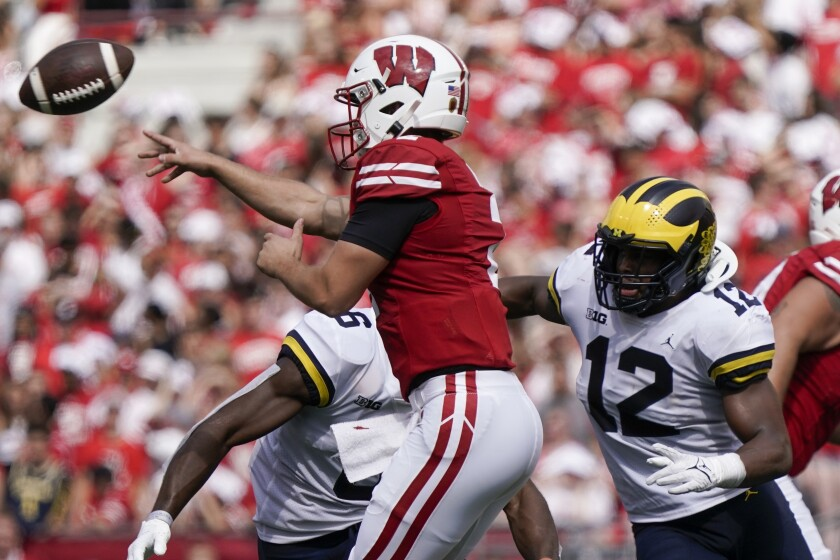 Wisconsin's Chase Wolf throws a pass during the second half of an NCAA college football game against Michigan Saturday, Oct. 2, 2021, in Madison, Wis. (AP Photo/Morry Gash)