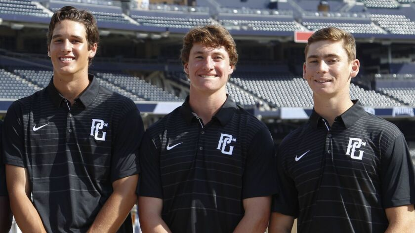 Garrett Frechette of Cathedral Catholic (center) will be joined by fellow locals Spencer Jones of La Costa Canyon (left) and Derek Diamond of Ramona (right) in the Perfect Game All-American Classic.