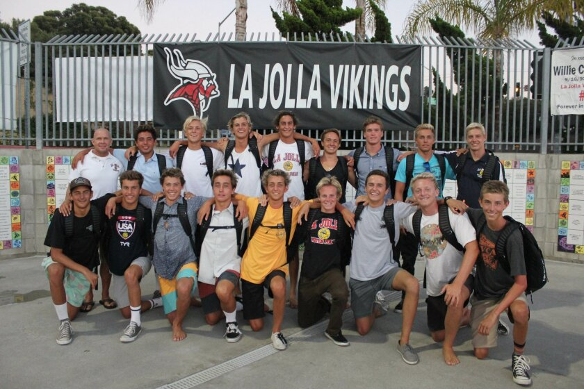 La Jolla High School's Varsity water polo team. Back row: Coach Tom Atwell, Carlos 'Tito' Hernandes, Matt Allen, Jake Le Beau, Henry Smith, Chase Repp, Jack Frager, Aaron Carswell and Tobin Groth. Front row: Myles Martinez, Conner Carpenter, Simon Hirschfield, Parker Seale, Nico Ivanov, John Murphy