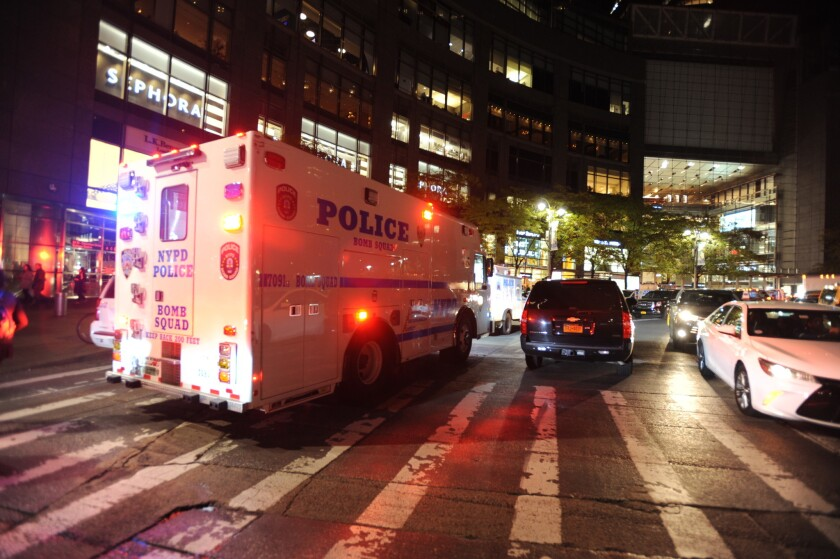 The NYPD Bomb Squad truck responded to the Time Warner building on Columbus Circle, where a suspicious package was discovered Thursday night.