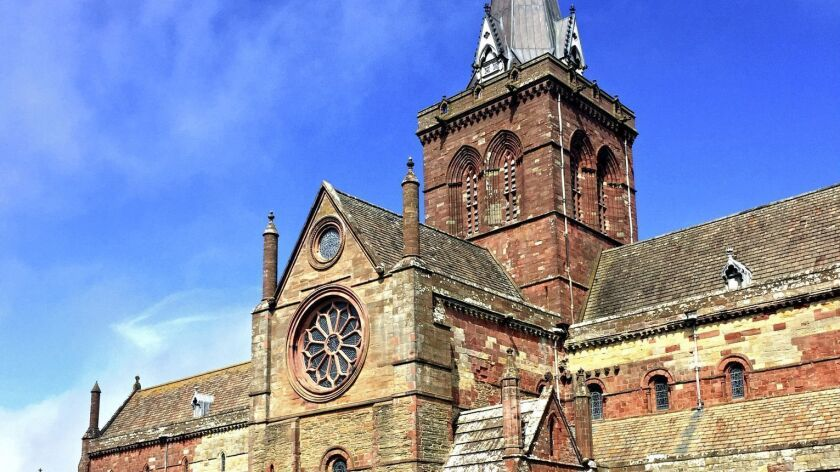 United Kingdom - Kirkwall Cathedral. Begun in 1137, Romanesque St. Magnus Cathedral dominates the lo