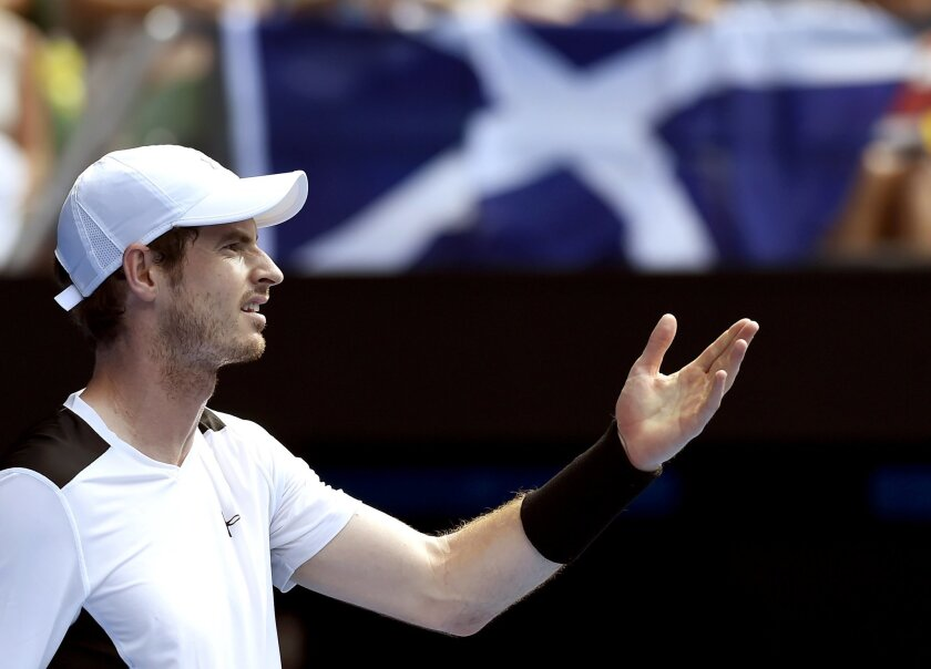 Andy Murray of Britain gestures during his quarterfinal match against David Ferrer of Spain at the Australian Open tennis championships in Melbourne, Australia, Wednesday, Jan. 27, 2016.(AP Photo/Andrew Brownbill)