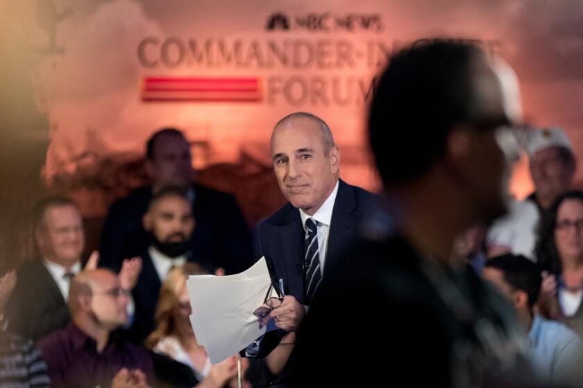 """Matt Lauer at NBC's """"Commander in Chief Forum"""" this month."""