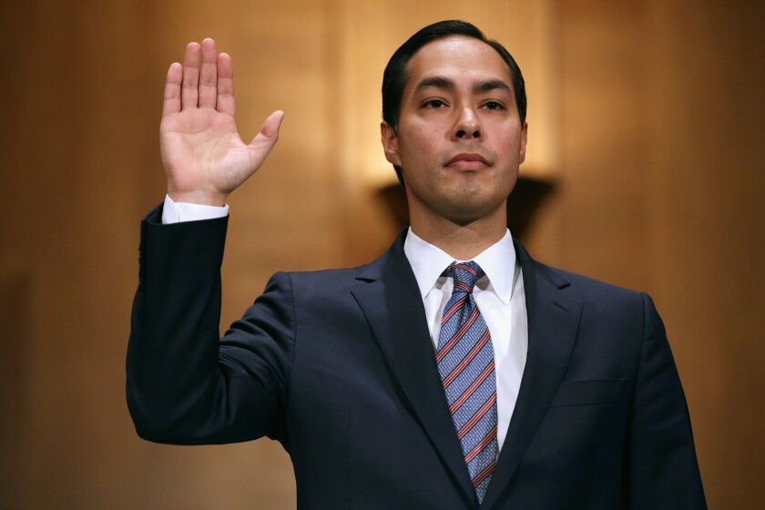 San Antonio Mayor Julian Castro is sworn in during his confirmation hearing before the Senate Banking, Housing and Urban Affairs Committee on June 17.