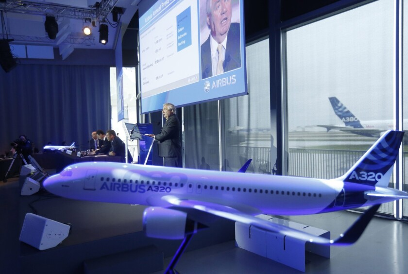 Airbus Chief Operating Officer John Leahy delivers a speech during the company's annual press conference in Colomiers, southern France.