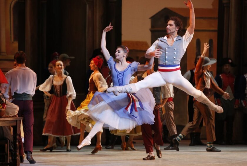 "Oksana Bondareva and Ivan Vasiliev as Jeanne and Philippe celebrate their wedding and the victory of the French Revolution in the Mikhailovsky Ballet and Orchestra's performance of ""Flames of Paris."""