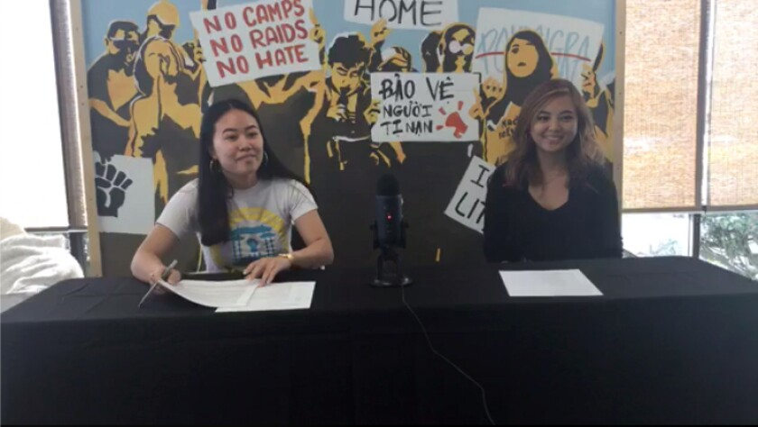 Allison Vo, left, and Tracy La, both of the Orange County-based activist group VietRISE, host a press conference on coronavirus' impact on Asian, Latin and immigrant communities.