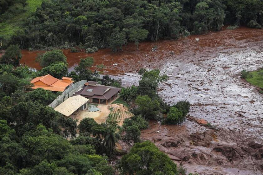An aerial photograph taken on Jan. 26, 2019, by a rescue team continuing to search in the southeastern municipality of Brumadinho, Minas Gerais state, Brazil, for victims of a tailings dam collapse at a mine owned by Rio de Janeiro-based Vale. At least nine people have died and nearly 300 are missing after the dam ruptured on Jan. 25. EPA-EFE/Antonio Lacerda