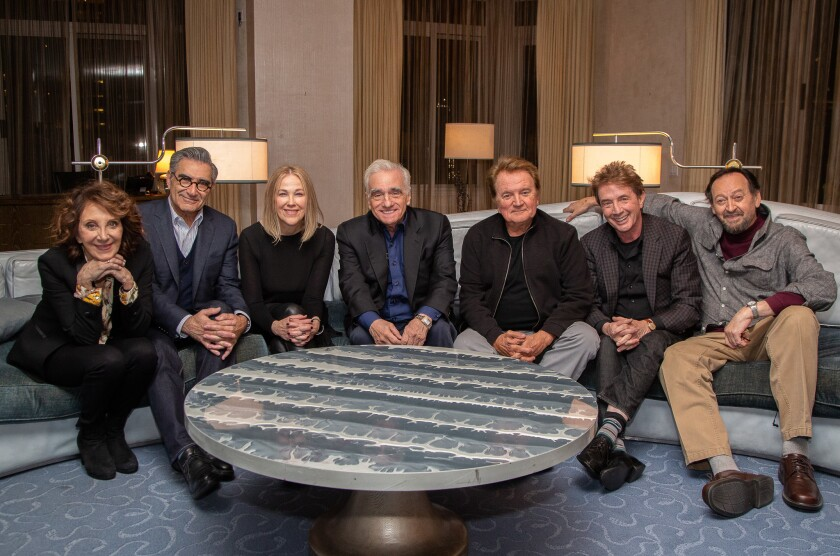 "The reunited cast of ""SCTV"" with Martin Scorsese, who is directing a documentary about the show"