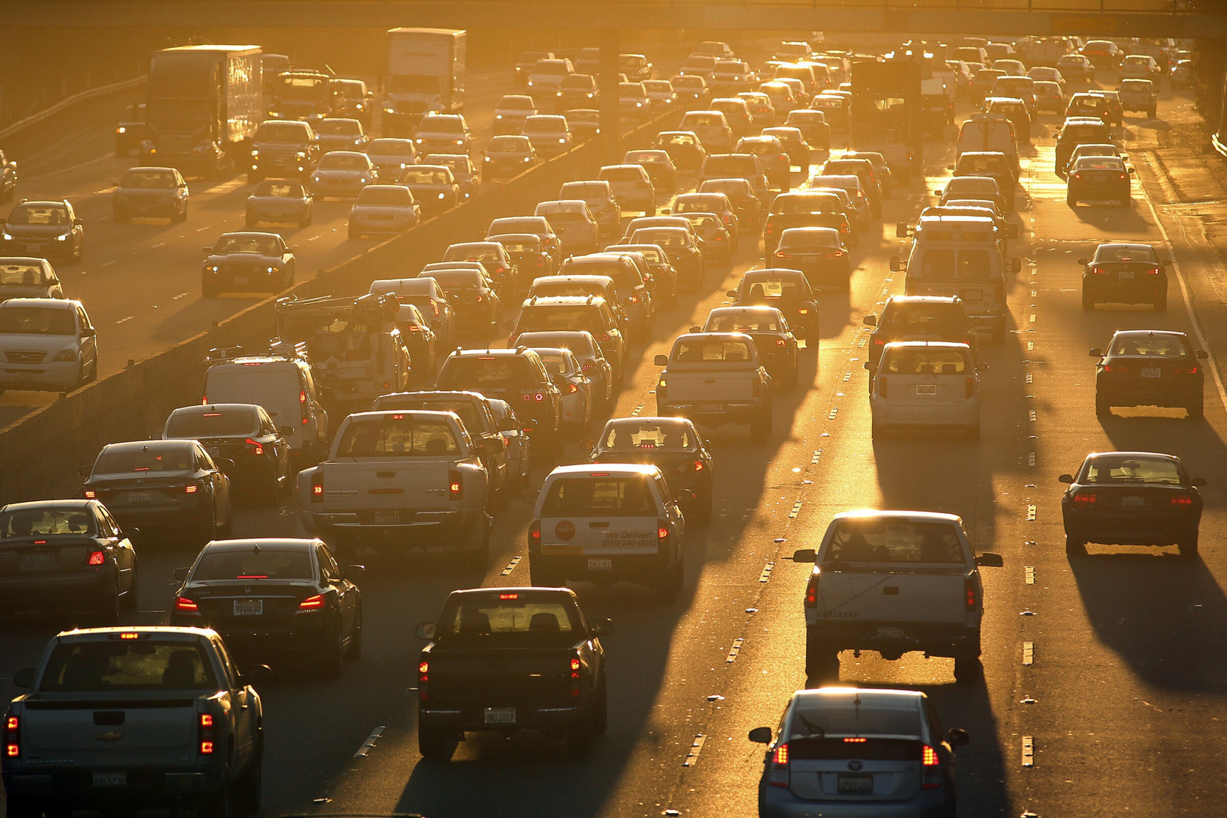 Cars packing the 101 Freeway head toward Downtown Los Angeles during the morning commute.