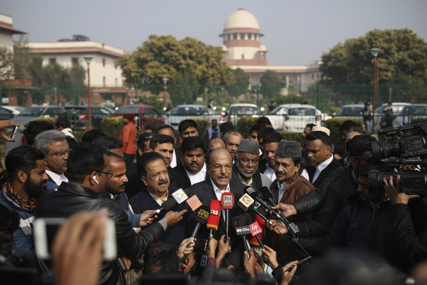 Indian Union Muslim League leader P. K. Kunhalikutty, one of the petitioners, speaks Jan. 22 on the lawn of India's Supreme Court.