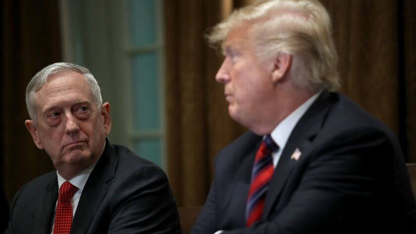 FILE - DECEMBER 23: President Trump Announced Defense Secretary Mattis Will Leave Office January 1. President Trump Receives A Briefing From Senior Military Leaders At White House