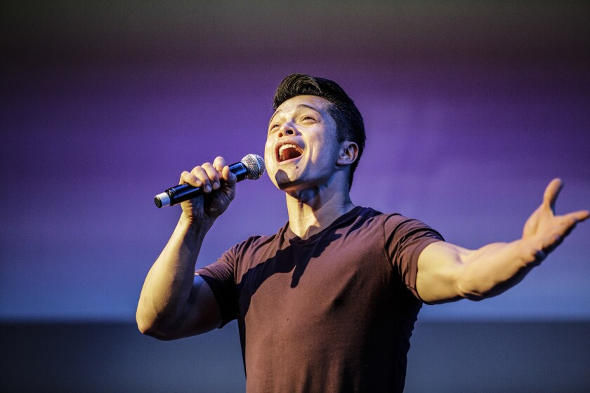 """COVINA, CA--APRIL 11, 2018: Vincent Rodriguez III sings his solo from """"Crazy Ex-Girlfriend"""" the TV s"""