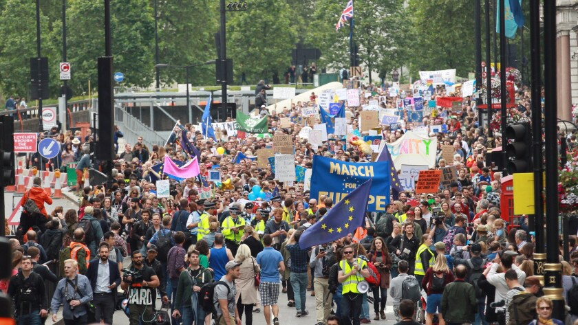 People take part in a 'March for Europe' event in central London on July 2.