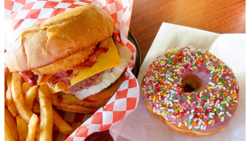 Pairing one of Glee's famously loaded burgers with a fresh doughnut is the ultimate SoCal meal. (P