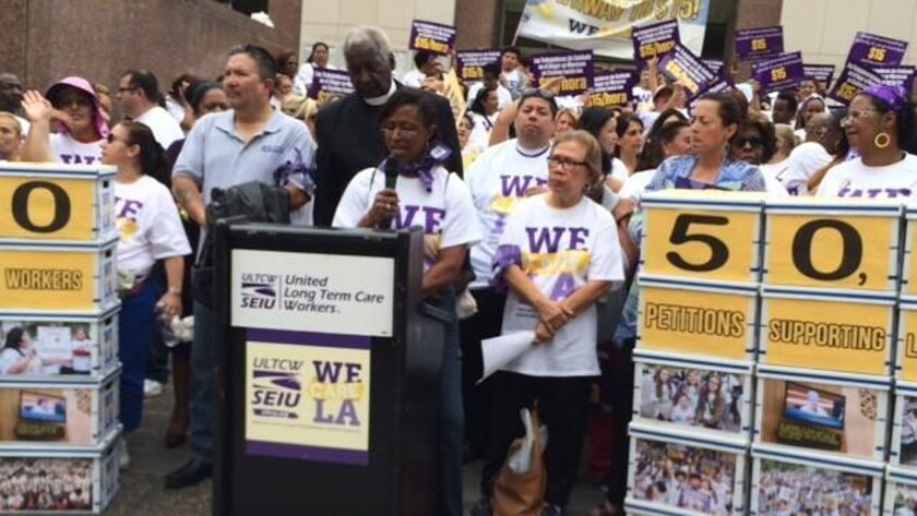 In-home services workers seek wage boost
