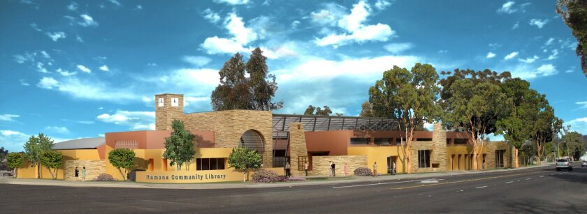 The Ramona library will be four times the size of the current one off Montecito Road, next to the sheriff's station. County supervisors last year approved spending $11.6 million for the library. (Courtesy photo)
