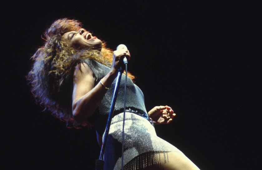 Tina Turner in concert in Versailles, France, in 1990.