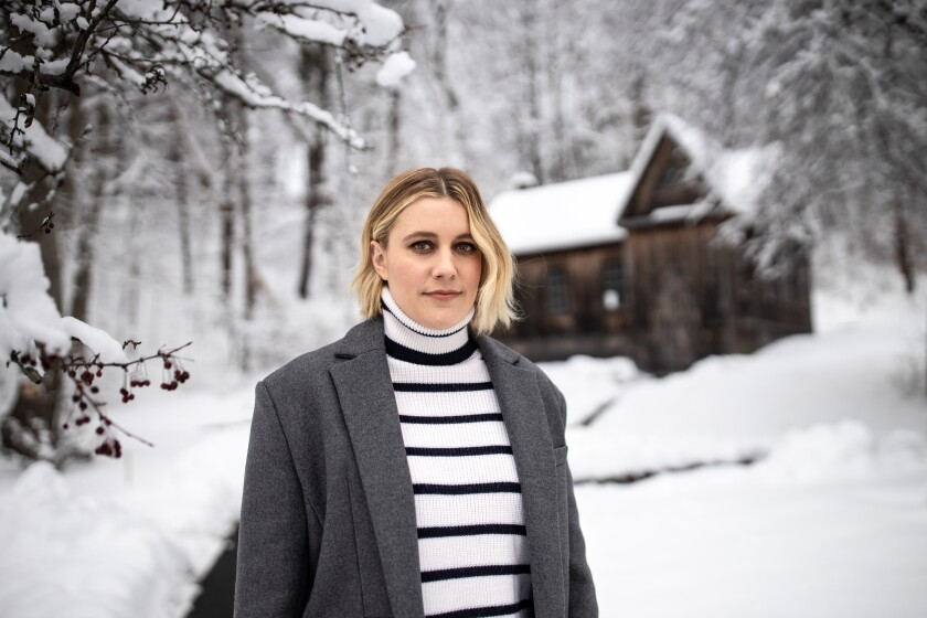 """Greta Gerwig outside of """"Little Women"""" author Louisa May Alcott's home in Concord, Mass."""