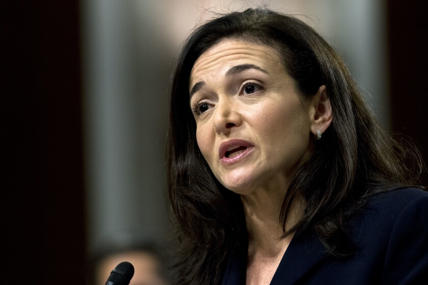 FILE- In this Sept. 5, 2018, file photo Facebook COO Sheryl Sandberg testifies before the Senate Intelligence Committee hearing on 'Foreign Influence Operations and Their Use of Social Media Platforms' on Capitol Hill in Washington. Facebook and civil rights group Color of Change are hosting a meeting Thursday, Sept. 26, 2019, in Atlanta to discuss problems around discrimination, racism and political deception on the site. Sandberg didn't directly respond to questions about the decision by Sherrilyn Ifill, president of the NAACP Legal Defense & Educational Fund, during a discussion by the two. (AP Photo/Jose Luis Magana, File)