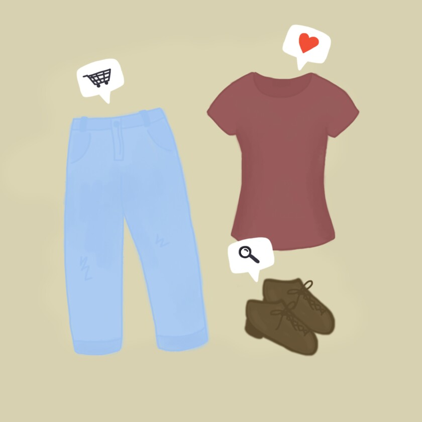 Illustration of clothing with pop-up messages on top showing a shopping cart, a heart and a search icon.